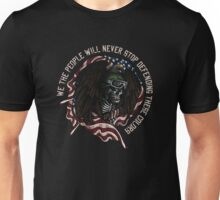 Military Soldier USA Army Marine Corps Skulls Eagle Wings Feather Flag Red White Blue Unisex T-Shirt