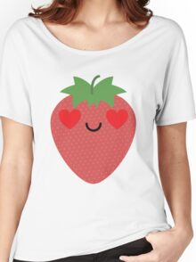 Strawberry Emoji Heart and Love Eye Women's Relaxed Fit T-Shirt