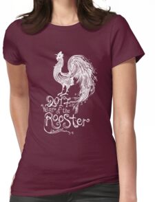 red fire rooster Womens Fitted T-Shirt