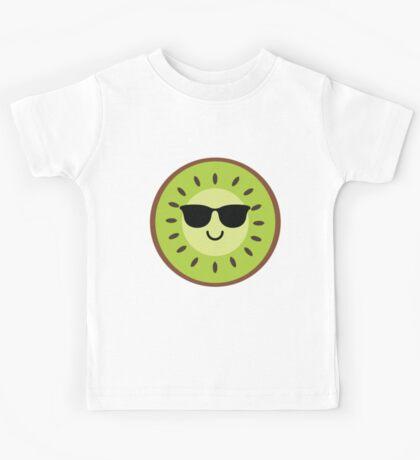 Kiwi Emoji Cool Sunglasses Kids Tee