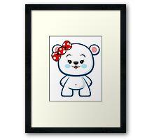 Polar Bear Girl Kawaii Framed Print