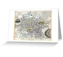 Plan of Edinburgh, Scotland - 1834 Greeting Card