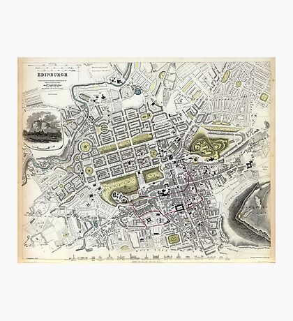 Plan of Edinburgh, Scotland - 1834 Photographic Print