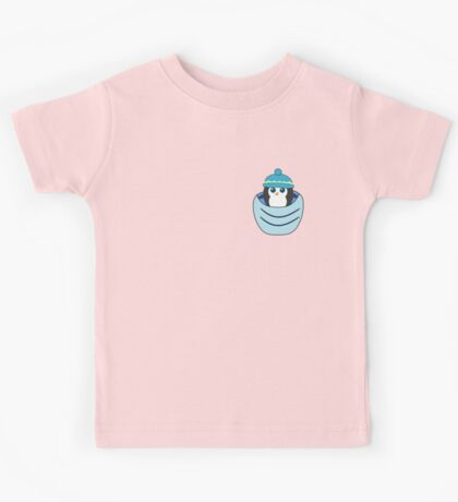 Cute penguin in a blue pocket Kids Tee