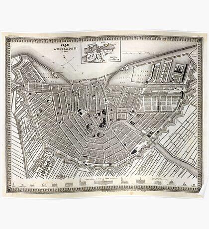 Plan of Amsterdam - Meyers - 1844 Poster