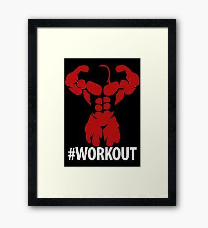 #Workout muscular body Black Version Framed Print