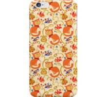 RED cat BLUE bird pattern. iPhone Case/Skin
