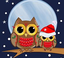 Cute Owls Merry Christmas text card by walstraasart