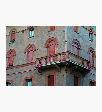 Red brick facade of building in Bologna, Italy Photographic Print