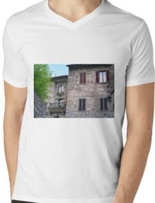 Stone building from Assisi, Italy Mens V-Neck T-Shirt