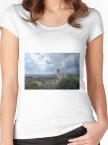 View of the hills and city of Assisi, Italy Women's Fitted Scoop T-Shirt