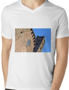 Detail of brick church with tower from Siena, Italy Mens V-Neck T-Shirt