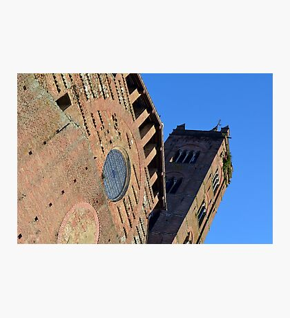 Detail of brick church with tower from Siena, Italy Photographic Print