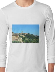 Buildings and green hill in Siena, Italy Long Sleeve T-Shirt