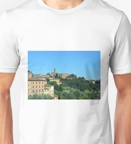 Buildings and green hill in Siena, Italy Unisex T-Shirt