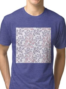 Tender twigs. Grey ,pink sprigs on a white background. Tri-blend T-Shirt