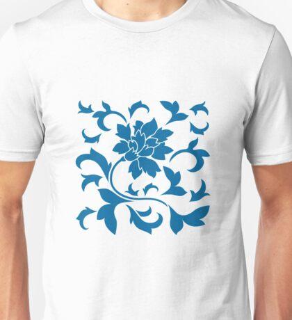 Oriental Flower - Snorkel Blue On White Background Unisex T-Shirt