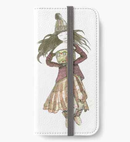 Vintage winter tiny house lady iPhone Wallet/Case/Skin