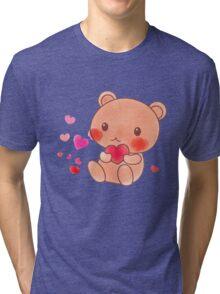 Cute Brown Bear Watercolor Pink Red Heart Gift Tri-blend T-Shirt