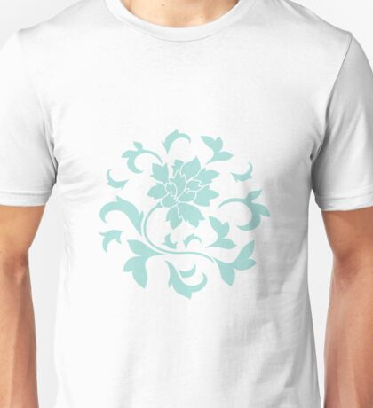 Oriental Flower - Limpe Shell Circular Pattern On White Background Unisex T-Shirt