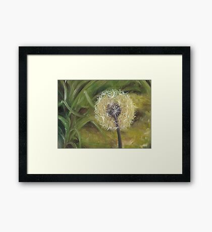 Dandelion Time Oil Painting Framed Print