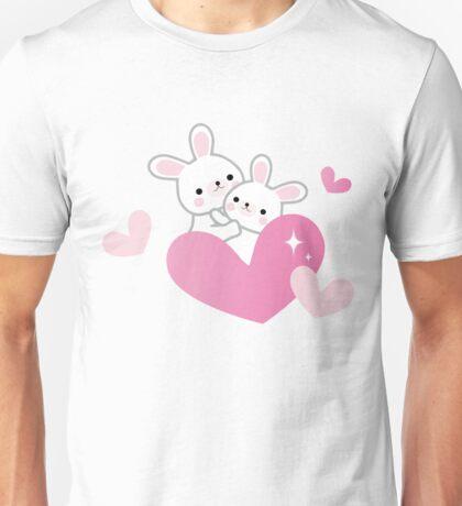 Cute Rabbits Hugs Pink Hearts Valentine Blush Kawaii Unisex T-Shirt