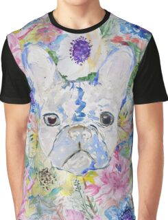 Abstract French bulldog floral watercolor paint Graphic T-Shirt