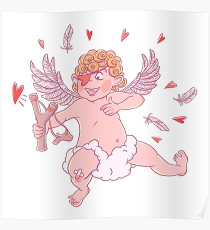 Valentine's day. Funny Cupid shoots with slingshot. Poster