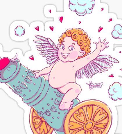 Valentine's day. Funny Cupid-boy Sticker