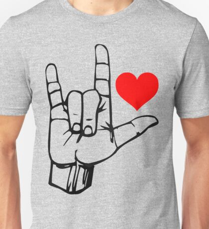 Hand I Love You ILY ASL Symbol Gesture stickers Unisex T-Shirt