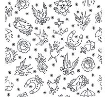 doodle pattern. traditional tattoo flash illustration Photographic Print