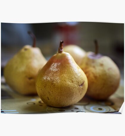 Ripe juicy pears in closeup Poster