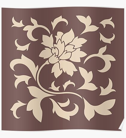 Oriental Flower - Chocolate Cafe Latte Poster