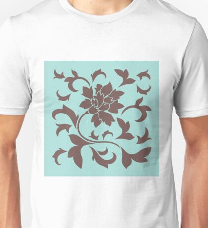 Oriental Flower - Chocolate and Limpet-Shell Unisex T-Shirt
