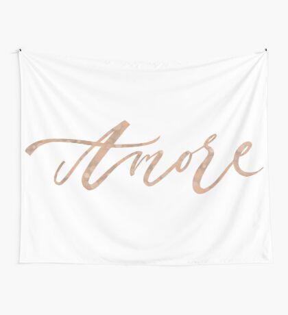Amore - rose gold script Wall Tapestry