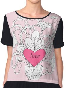 rlowers in cup with love Chiffon Top