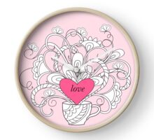 rlowers in cup with love Clock