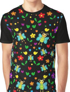 Cute butterflies and flowers pattern - black Graphic T-Shirt