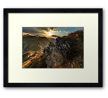 Mountain range at sunset Framed Print