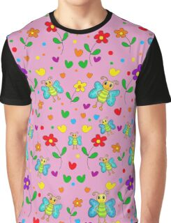 Cute butterflies and flowers pattern - pink Graphic T-Shirt