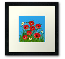 Poppies and Butterflies Framed Print