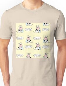 Cute cartoon cow with milk Unisex T-Shirt