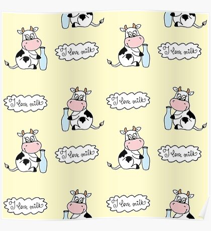 Cute cartoon cow with milk Poster