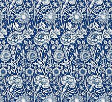 Indigo and White William Morris Pattern by Greenbaby