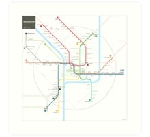 Washington Metro Map Art Print
