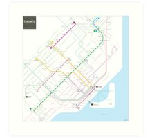 Toronto Metro and Bus map Art Print