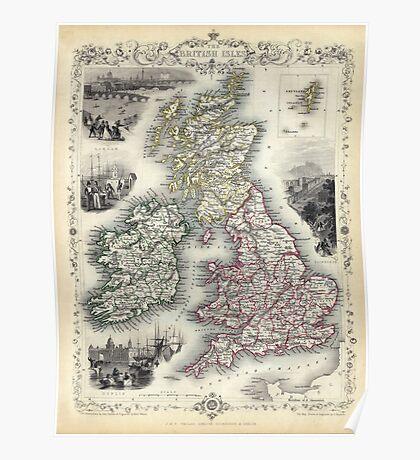 The British Isles - Tallis - 1851 Poster