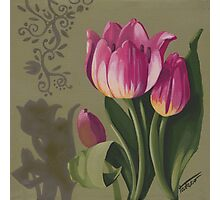 Tulips and shadows - acrylic painting Photographic Print