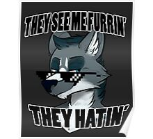 They See Me Furrin' They Hatin' - Wolf Poster