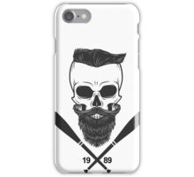 Bearded Skull - Totenkopf, Bart, Hipster, Baseball iPhone Case/Skin